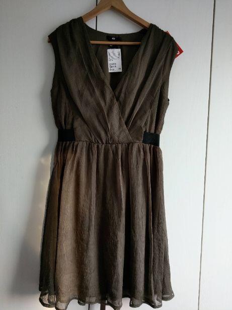 Sukienka nowa szyfon H&M brudna zieleń wesele święta okazje piękna 42