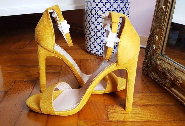 żółte sandały za kostkę letnie
