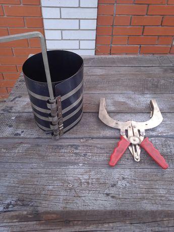 Обжимка и клещи для установки поршневых колец до 160 мм