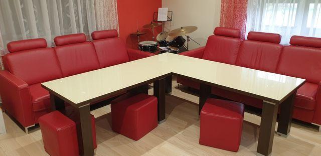 Kanapa skórzana, stół, komplet, pufy, kanapy ze skóry, stoły, zestaw