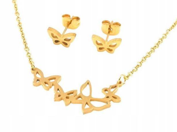 20) Komplet pozłAcanej biżuterii z motylami NOWY