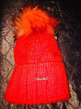 Шапка детская оранжевая Raster poland Польша шапочка для девочки зима