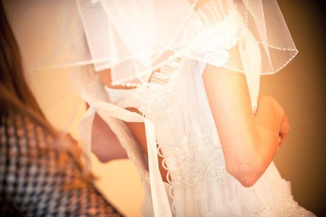 Нежное свадебное платье Papilio, в подарок фата и кольца