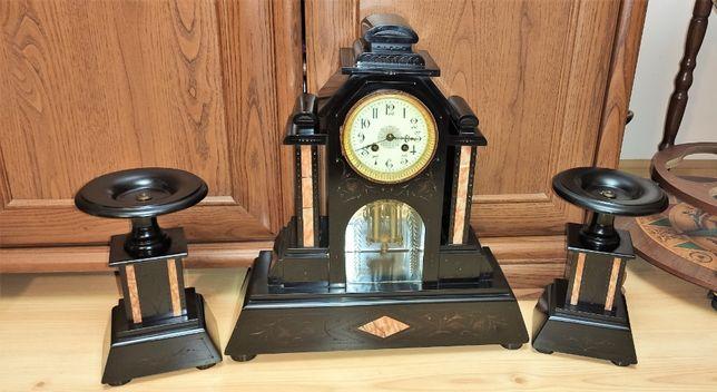 Duży zegar kominkowy czarny marmur z przystawkami ,XIXw,Francja