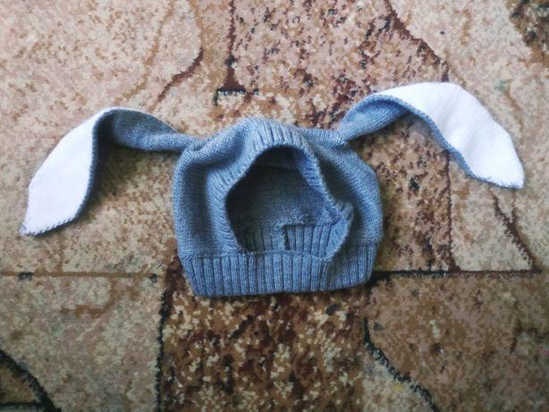Шапка с ушами, шапка-зайка