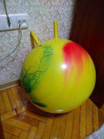 Детский надувной мяч фитбол с ручками плотный