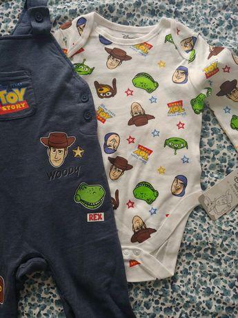 Nowy zestaw body i ogrodniczki spodenki Toy Story roz. 80