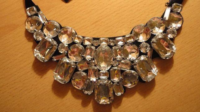 piękny naszyjnik kolia kryształy tanio