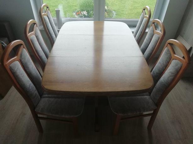 Stół dębowy ruatikal plus 6 krzeseł.