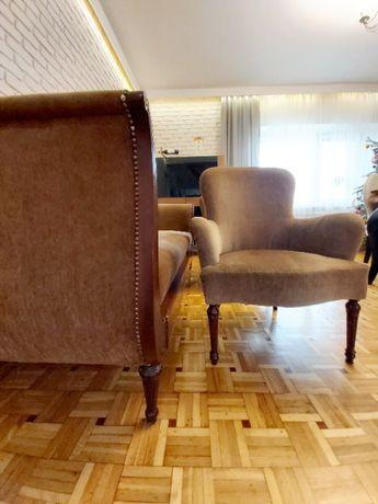 Komplet: duża sofa + 2 fotele, antyk, niska cena