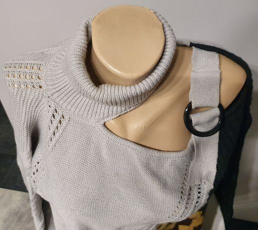 Sweter Na Jedno Ramię Leopard Rozm. M, L Jasnoszary Otwarty Kardigan