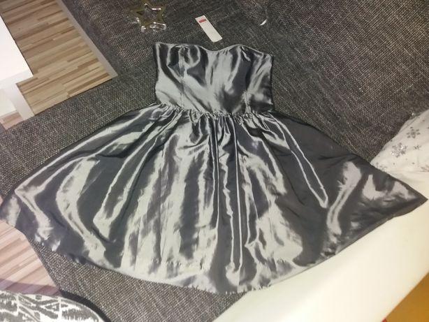 Nowa Srebrna rozkloszowana sukienka sylwester