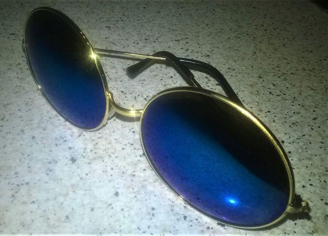 Okulary Duże Lenonki Przeciwsłoneczne ,Okrągłe ,Lustrzanki ,NOWE