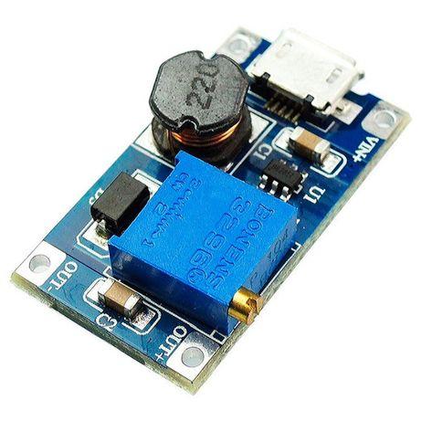 Модуль MT3608 с microUSB повышающий DC/DC преобразователь