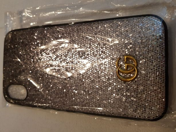 Capa iPhone X Gucci Style prata glitter
