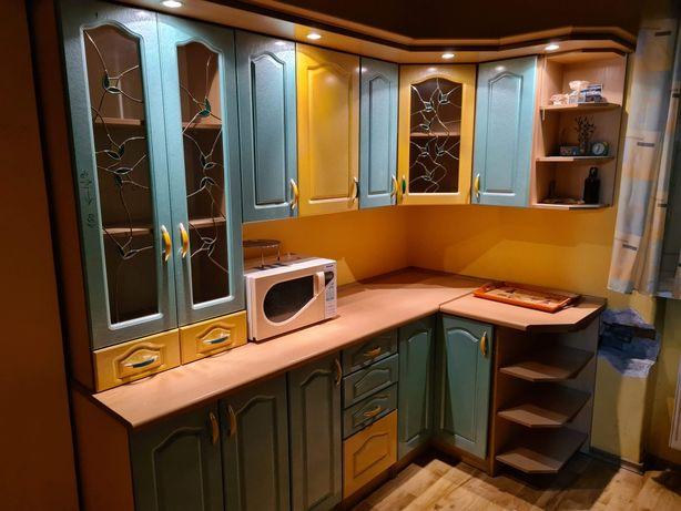 Meble kuchenne narożnikowe połysk LED 220cm x 120 x 210