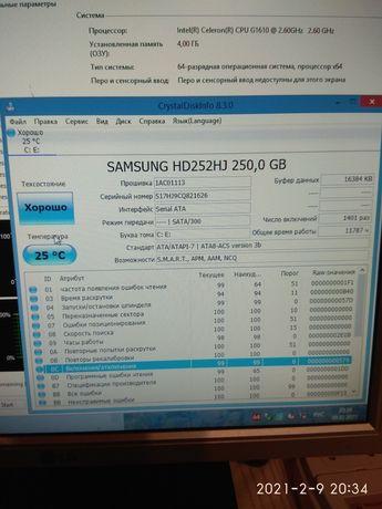 Жёсткий диск винчестер 250 Гб Samsung WD 3.5 7200 sata 16 мб кеш тесты