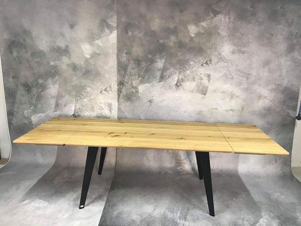 Stół dębowy blat drewno stal dąb loft industrialny rozkładany dostawki