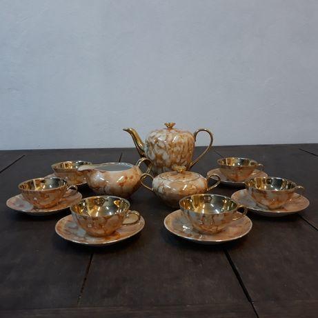 """Zabytkowy serwis porcelanowy do kawy Wawel """"Julita"""" , pomarańcz, złoto"""