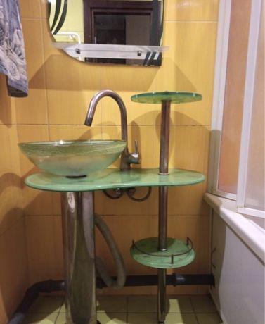 Продам стеклянную раковину умывальник с зеркалом