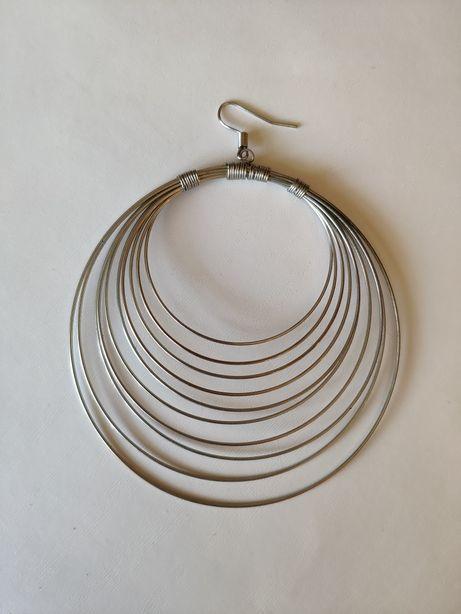 Сережки кольца серьги большие крупные серебро моно бижутерия подвеска