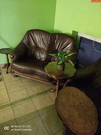 Wypoczynek skórzany trójka, dwójka i fotel