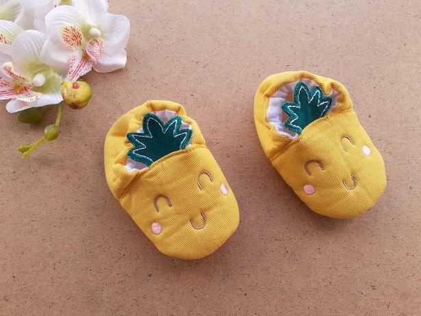 Яркие жёлтые пинетки мокасины на девочку 0-3 мес ананас Nutmeg