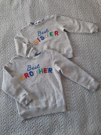 Komplet, bluzy dla rodzeństwa Best sister 86/92 Best brother 110/116