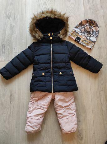 Kurtka 98/spodnie ocieplane Zara 98, narciarskie/zestaw;czapka Elodie