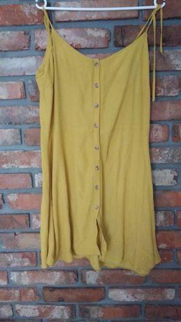 Sukienka letnia,na lato,na ramiączkach r.L,musztardowa,żółta,guziki