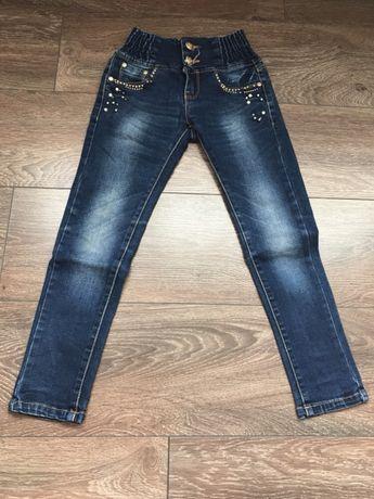 Spodnie jeansowe 116 na 6-7 lat perełki ozdoby i inne na szczupłą