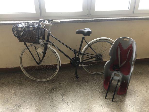Rower miejski z koszem+zabezpieczenie i fotelik