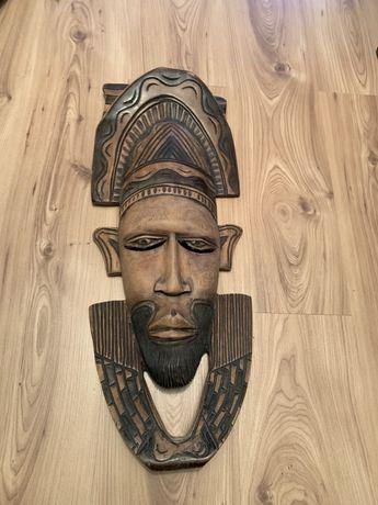 Afrykańska maska ścienna drewno hebanowe