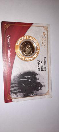 Moneta Rotmistrz Witold Pilecki pozłacana certyfikat