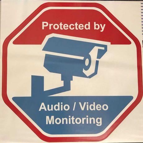 Adesivo de aviso de câmara de segurança