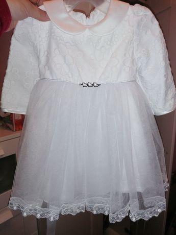 Sukienka/komplet do chrztu + bolerko i kapelusik r. 74+ gratis