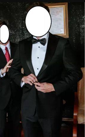 Garnitur ślubny smokingowy - czarny, 100% wełna ALBIONE + koszula