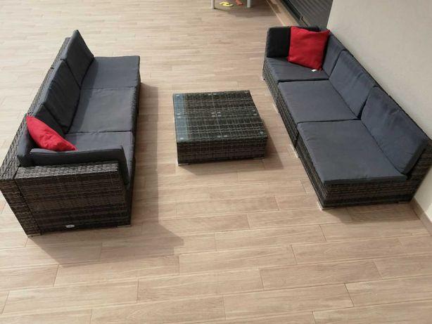 Conjunto lounge de jardim c/ almofadões vime PE cinzento (7 pcs)