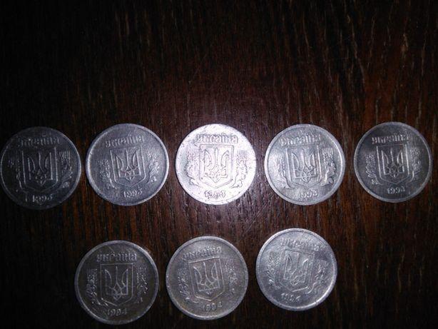 Монеты Украины. 2 копейки. Алюминий. 1993 и 1994 гг.