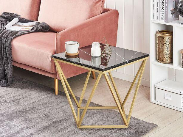 Mesa de apoio com efeito de mármore preto e pés dourados MALIBU - Beliani