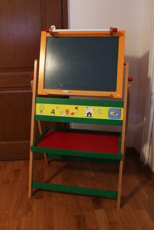 Tablica dla dzieci dwustronna, drewniana, magnetyczna