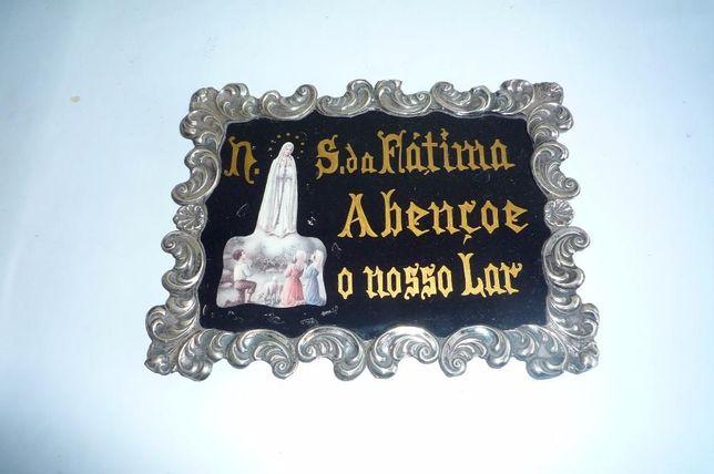 Nossa Senhora de Fatima Abençoe o nosso Lar - Placa em Prata
