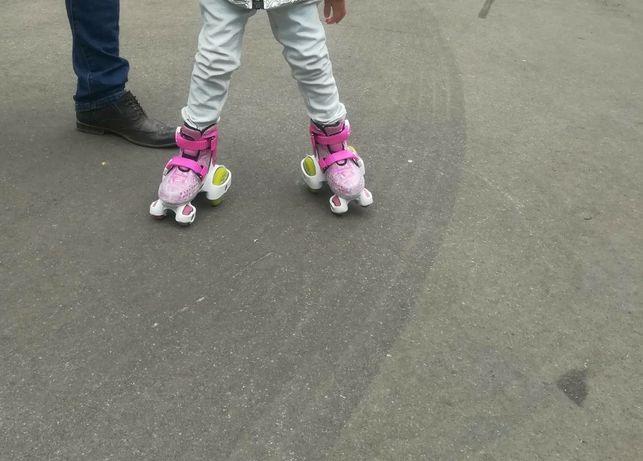 Роликовые коньки розовые 4колеса