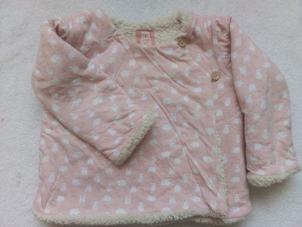 86 sweter 5 10 15 ciepły gruby futerko różowy bluza narzutka