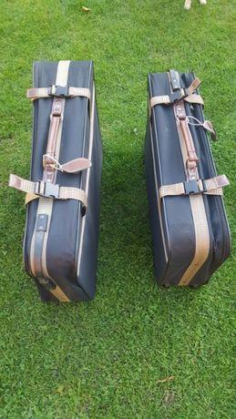 2 Walizki w stylu retro na kółkach z rączką skórzaną 75 cm 45 cm 25 cm
