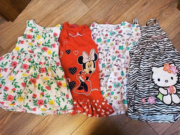Zestaw 4 letnie sukienki 110-116