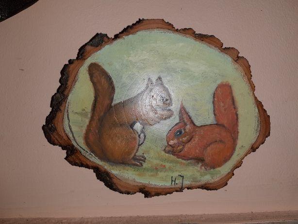 Malowane Na Krążku Drewna Wiewiórki 14 x 11 cm