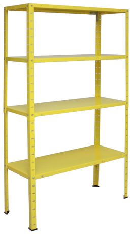 Regał metalowy magazynowy do piwnicy garażu 145x75x30cm żółty 200kg