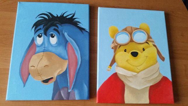 Obrazki do pokoju dziecięcego Kubuś Puchatek ręcznie malowane