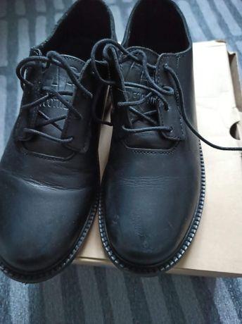 Zara buty do garnituru czarne skóra